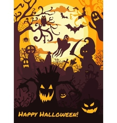Halloween background with spooky cemetery bare vector image