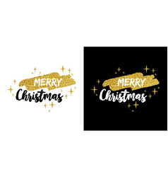 merry christmas gold glitter quote greeting card vector image vector image