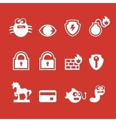 Set of cyber virus digital protection hacker vector image