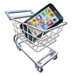 smart phone shopping cart concept vector image