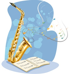 A saxophone with a musical book vector image vector image