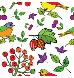 bird berries print vector image