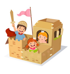 creative kids playing castle made of cardboard box vector image vector image