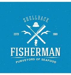 Retro fisherman logo or label template vector
