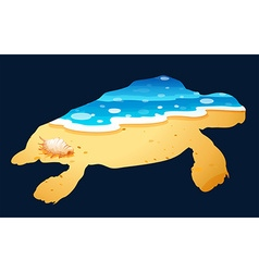 Save wildlife theme with sea turtle vector image