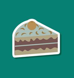 sweet dessert in paper sticker berry cake vector image