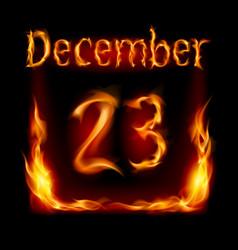 twenty-third december in calendar of fire icon on vector image vector image