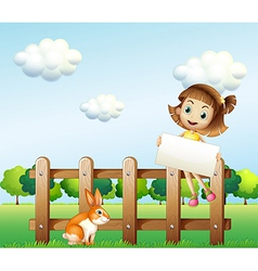 A girl sitting on a wooden fence holding an empty vector image vector image