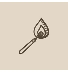 Burning match sketch icon vector image