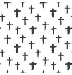 cross symbols seamless pattern grunge hand drawn vector image
