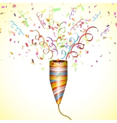 Exploding Party Popper With Confetti vector image