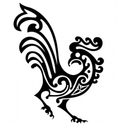 ornamental rooster vector image vector image