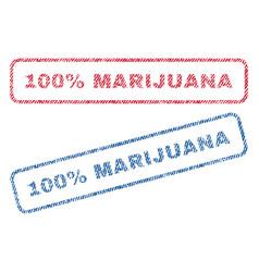 100 percent marijuana textile stamps vector