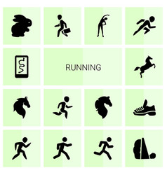 14 running icons vector