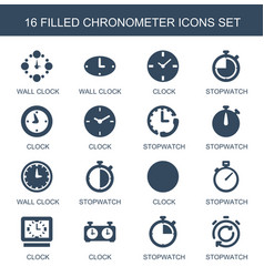 16 chronometer icons vector image