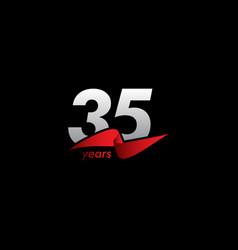 35 years anniversary celebration white black red vector