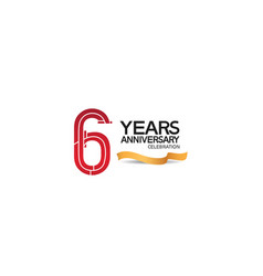 6 years anniversary template with red color vector