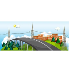 A curve road in the city vector image