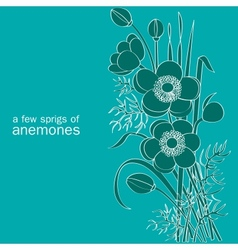 A few sprigs anemones vector