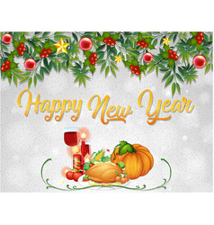a happy new year card template vector image