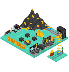 bitcoin mining concept 3d isometric view vector image