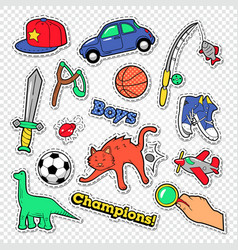 boy childhood doodle with ball toys vector image