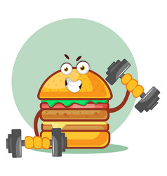 Burger is lifting weights on white background vector