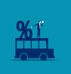 Businessman and percentage on car concept vector