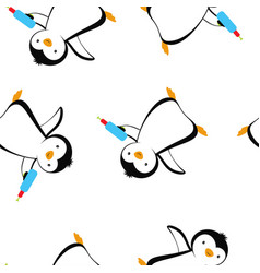 cartoon pattern with penguins summer print vector image