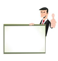 Cartoon white businessman blank sign vector