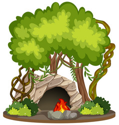 Cave with fire pit nature scene vector