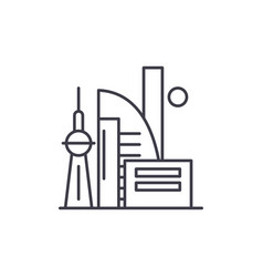 chinese skyscrapers line icon concept chinese vector image