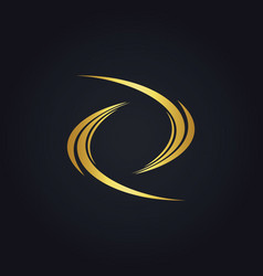 Circle abstract wave gold logo vector