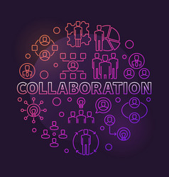 Collaboration round colorful outline vector