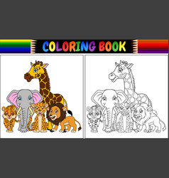 Coloring book with cute african animals vector