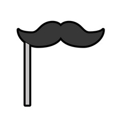 cute booth prop moustache cartoon vector image