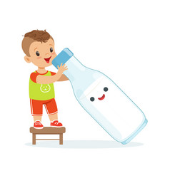 Cute little boy and funny milk bottle with smiling vector