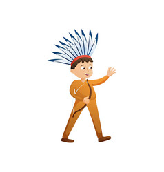 cute smiling boy in indian costume with feathers vector image
