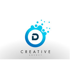 d letter logo blue dots bubble design vector image vector image