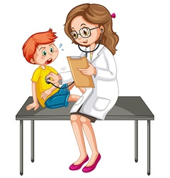 Doctor examining little boy vector
