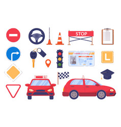 Driving car auto school element set isolated vector