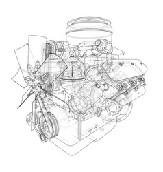 engine sketch vector image vector image
