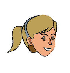 Face woman head ponytail smile vector