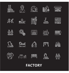 factory editable line icons set on black vector image