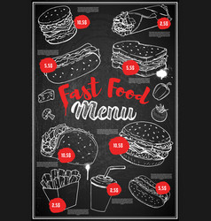 fast food menu cover layout menu chalkboard with vector image