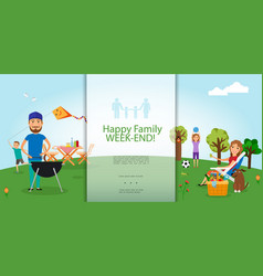 flat family barbecue party template vector image