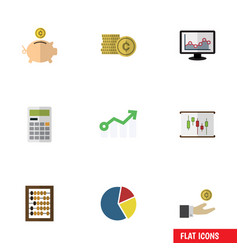 Flat icon incoming set of counter calculate vector