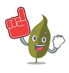 Foam finger bay leaf mascot cartoon vector