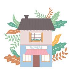 front view flowers shop building commercial vector image