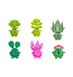 funny plants characters set fantasy succulents vector image